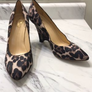 Kate Spade Animal Print Satin Wedge Shoe Sz 9.5 B